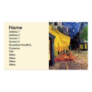 Van Gogh; Terraza del café en la noche, bella arte Tarjeta De Visita
