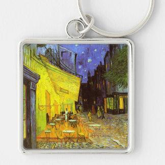 Van Gogh: Terraza del café en la noche Llavero Cuadrado Plateado