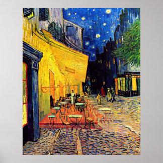 Van Gogh - terraza del café en la noche Póster