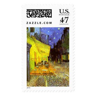 Van Gogh: Terraza del café en la noche Sello Postal