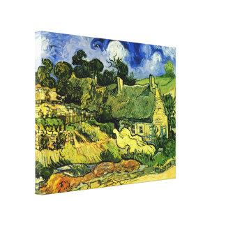 Van Gogh Thatched Cottages at Cordeville, Fine Art Canvas Print