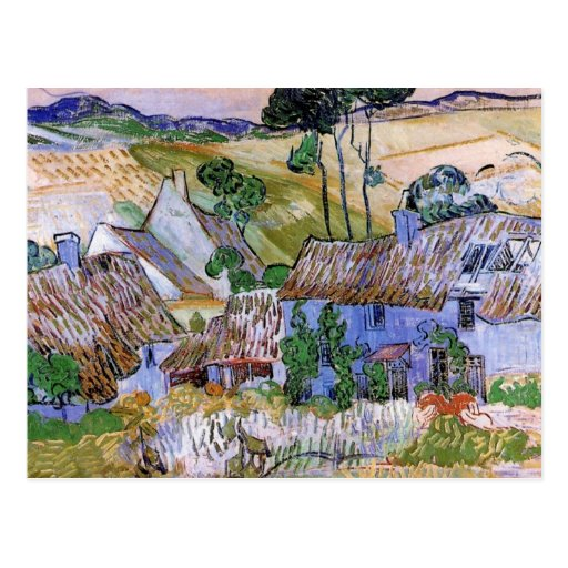 Van Gogh; Thatched Cottages by a Hill Post Cards