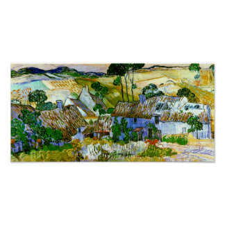 Van Gogh Thatched Cottages by a Hill Poster
