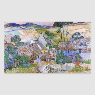 Van Gogh; Thatched Cottages by a Hill Rectangular Stickers