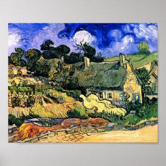 Van Gogh Thatched Cottages Cordeville Fine Vintage Poster