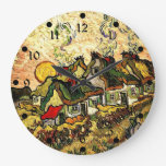 Van Gogh: Thatched Cottages in the Sunshine Wall Clocks
