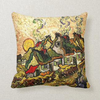 Van Gogh: Thatched Cottages in the Sunshine Throw Pillow