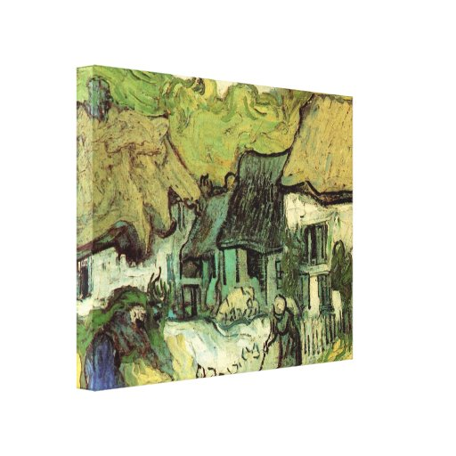 Van Gogh; Thatched Cottages Jorgus, Vintage Houses Gallery Wrap Canvas