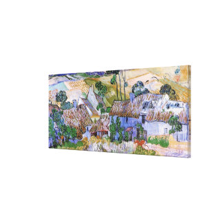 Van Gogh Thatched Roof Cottages by Hill, Fine Art Canvas Print