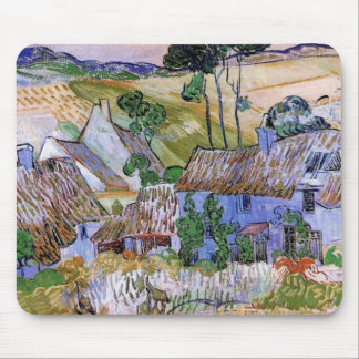 Van Gogh Thatched Roof Cottages by Hill, Fine Art Mouse Pad