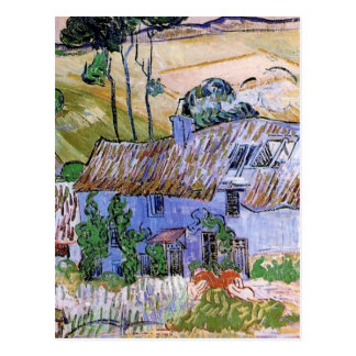 Van Gogh Thatched Roof Cottages by Hill, Fine Art Postcard