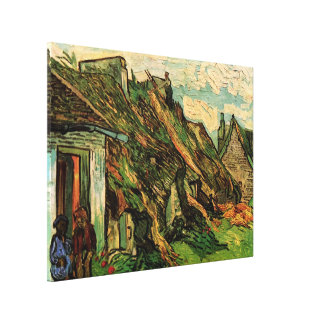 Van Gogh Thatched Sandstone Cottages in Chaponval Canvas Print