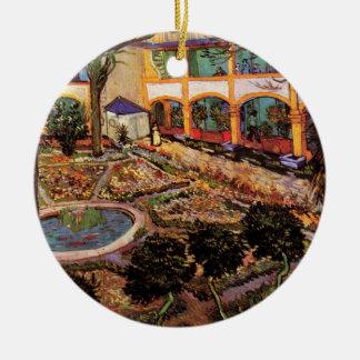 Van Gogh; The Courtyard of the Hospital at Arles Christmas Tree Ornaments