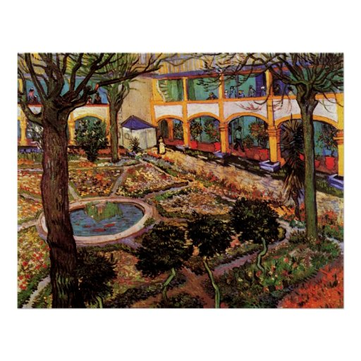 Van Gogh The Courtyard of the Hospital at Arles Poster