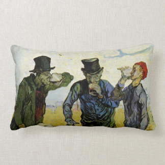 Van Gogh; The Drinkers, Vintage Post Impressionism Lumbar Pillow