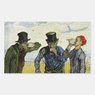 Van Gogh, The Drinkers, Vintage Post Impressionism Rectangular Sticker