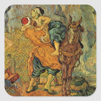 Van Gogh The Good Samaritan, Vintage Impressionism Square Sticker