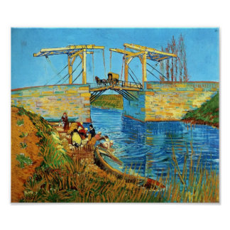 Van Gogh The Langlois Bridge at Arles with Women Poster