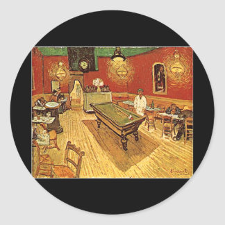 Van Gogh The Night Cafe Round Stickers