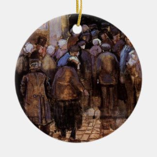 Van Gogh The Poor and Money, Vintage Impressionism Ceramic Ornament