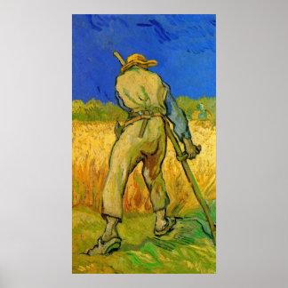 Van Gogh; The Reaper, Vintage Impressionism Farmer Print