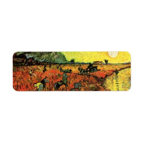 Van Gogh The Red Vineyard Vintage Impressionism Label