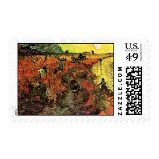 Van Gogh, The Red Vineyard, Vintage Impressionism Stamps
