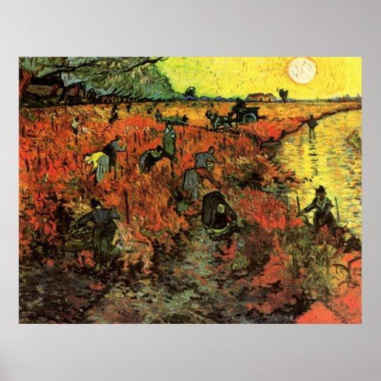 Van Gogh, The Red Vineyard, Vintage Impressionism Poster