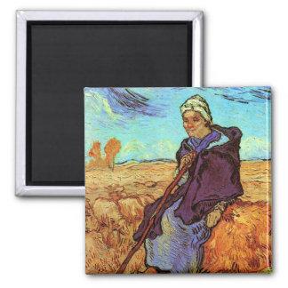 Van Gogh - The Shepherdess 2 Inch Square Magnet
