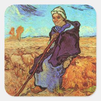 Van Gogh - The Shepherdess Square Stickers
