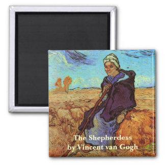Van Gogh; The Shepherdess, Vintage Impressionism 2 Inch Square Magnet