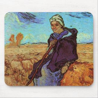 Van Gogh; The Shepherdess, Vintage Impressionism Mouse Pad