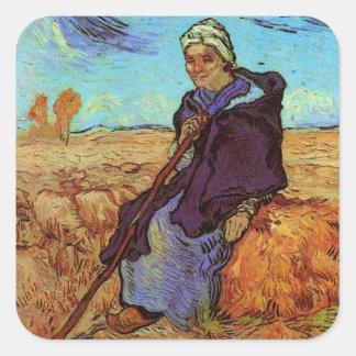 Van Gogh; The Shepherdess, Vintage Impressionism Square Sticker