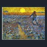 "Van Gogh - The Sower Postcard<br><div class=""desc"">Van Gogh - The Sower postcard.  Post-impressionism landscape by Vincent Van Gogh,  1888.</div>"
