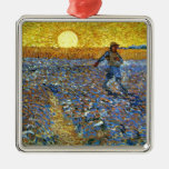 Van Gogh - The Sower Square Metal Christmas Ornament