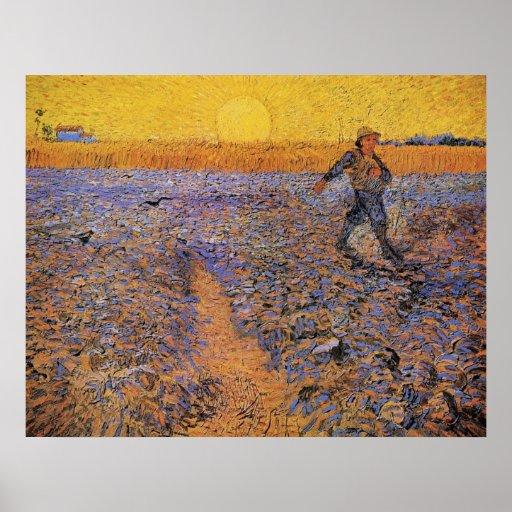 Van Gogh, The Sower, Vintage Impressionism Art Poster