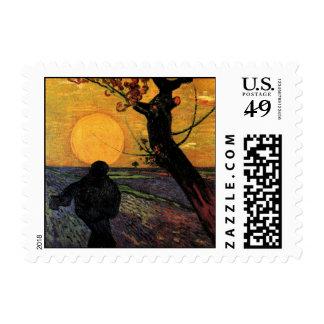 Van Gogh; The Sower, Vintage Peasant Farmer Stamp
