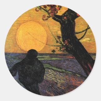 Van Gogh; The Sower, Vintage Peasant Farmer Classic Round Sticker