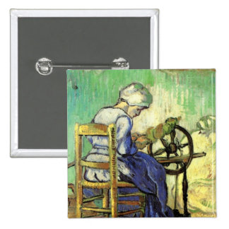 Van Gogh, The Spinner, Vintage Impressionism Art 2 Inch Square Button