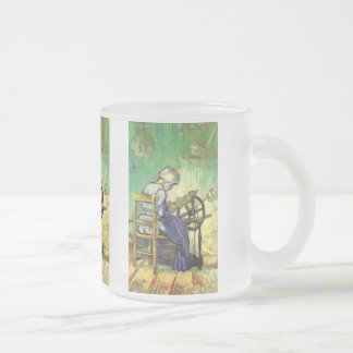 Van Gogh, The Spinner, Vintage Impressionism Art Frosted Glass Coffee Mug