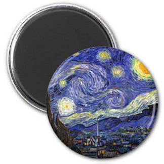Van Gogh - The Starry Night 2 Inch Round Magnet
