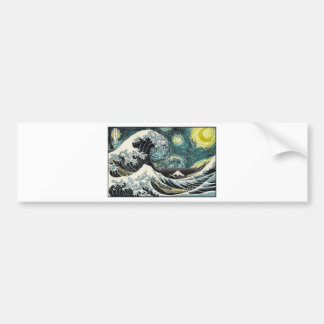 Van Gogh The Starry Night - Hokusai The Great Wave Bumper Sticker