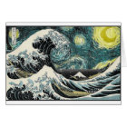 Van Gogh The Starry Night - Hokusai The Great Wave Card