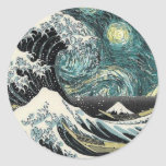 Van Gogh The Starry Night - Hokusai The Great Wave Classic Round Sticker