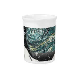 Van Gogh The Starry Night - Hokusai The Great Wave Drink Pitcher