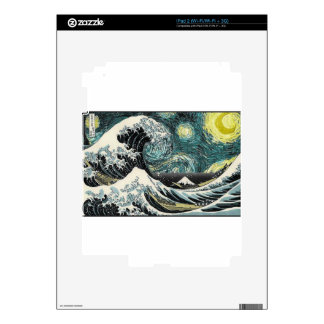Van Gogh The Starry Night - Hokusai The Great Wave iPad 2 Skin