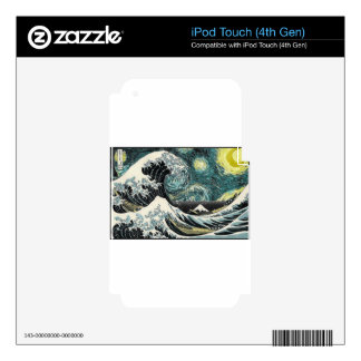 Van Gogh The Starry Night - Hokusai The Great Wave iPod Touch 4G Skin