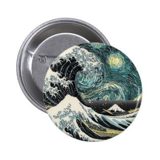 Van Gogh The Starry Night - Hokusai The Great Wave Pinback Button