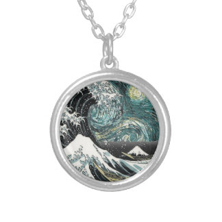 Van Gogh The Starry Night - Hokusai The Great Wave Silver Plated Necklace