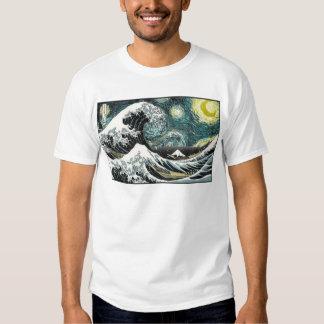 Van Gogh The Starry Night - Hokusai The Great Wave Tee Shirts